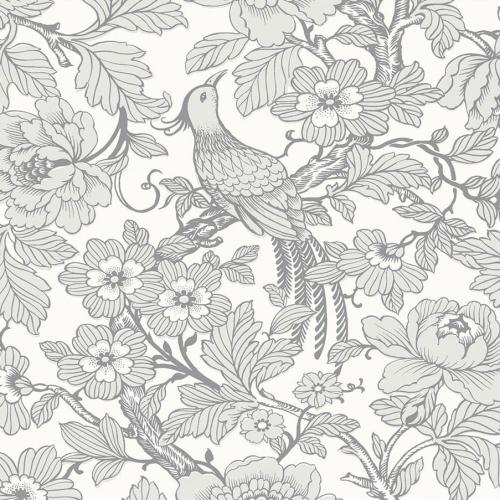 Papel pintado estilo aves en color gris claro Beaufort EC80408