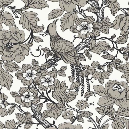 Papel pintado estilo aves en color negro y beige Beaufort EC80410