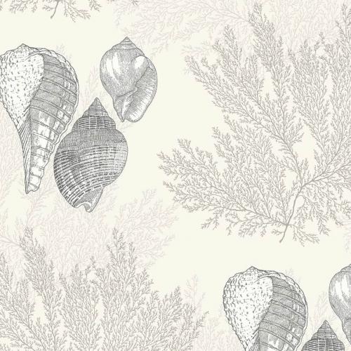 Papel pintado estilo corales en color gris Nauset EC81205