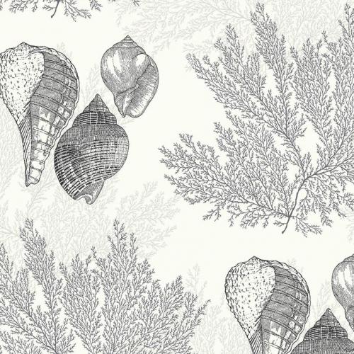 Papel pintado estilo corales en color negro Nauset EC81200