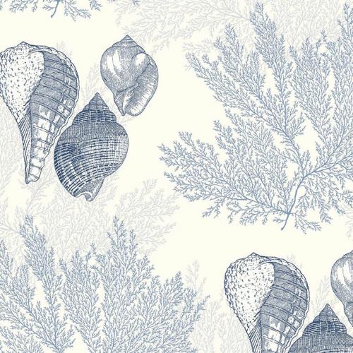 Papel pintado estilo corales en color azul Nauset EC81202