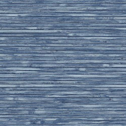 Papel pintado estilo símil fibra natural liso en color azul Bellport wooden EC81302