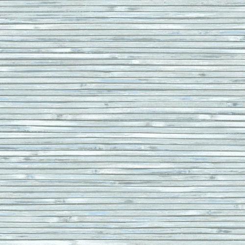 Papel pintado estilo símil fibra natural liso en color azul claro Bellport wooden EC81312