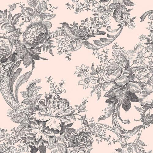 Papel pintado estilo estampado floral en color negro y fondo rosa Carmel EC81601