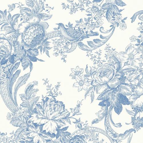 Papel pintado estilo estampado floral en color azul Carmel EC81602
