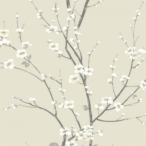 Papel pintado estilo estampado floral en color beige Monterey EC81805