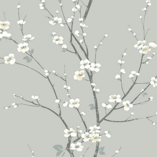 Papel pintado estilo estampado floral en color gris Monterey EC81808
