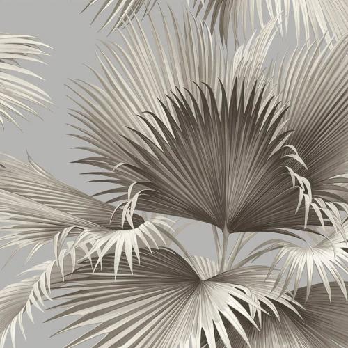 Papel pintado estilo tropical en color gris Summer Palm EC81908
