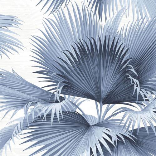 Papel pintado estilo tropical en color azul Summer Palm PC40102
