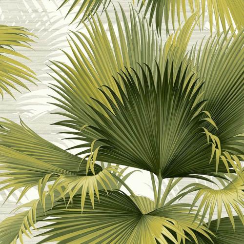 Papel pintado estilo tropical en tonos de color verde Summer Palm PC40114