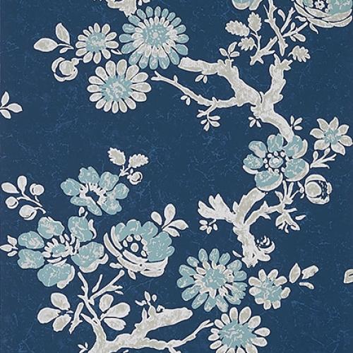 Papel pintado de estilo floral estampado en azul Claudette T10813