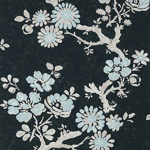 Papel pintado de estilo floral estampado en negro Claudette T10814
