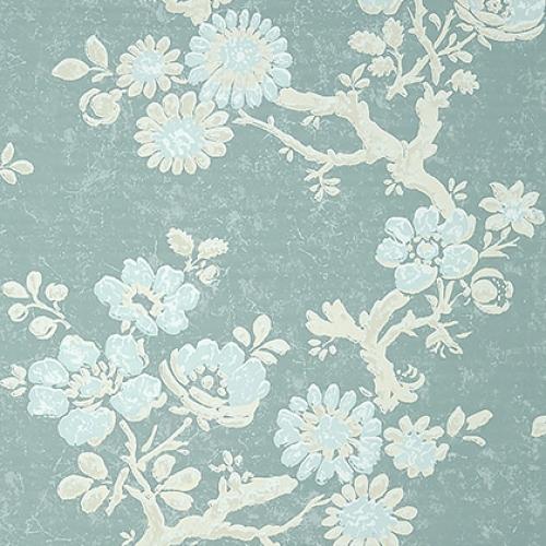 Papel pintado de estilo floral estampado en azul Claudette T10815