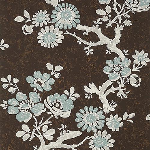 Papel pintado de estilo floral estampado en marrón Claudette T10817