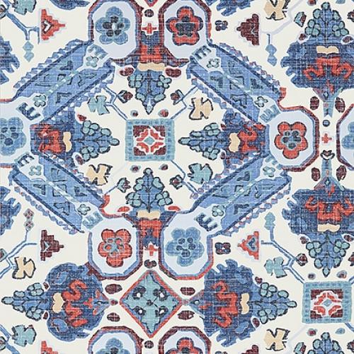Papel pintado de estilo estampado varios en tonos de color azul Persian Carpet T10824