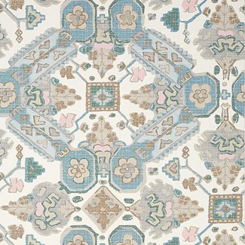 Papel pintado de estilo estampado varios en azul pastel Persian Carpet T10825