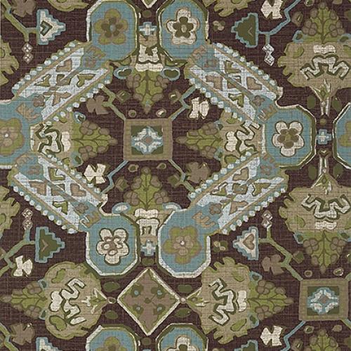 Papel pintado de estilo estampado varios en tonos verde y azul Persian Carpet T10826