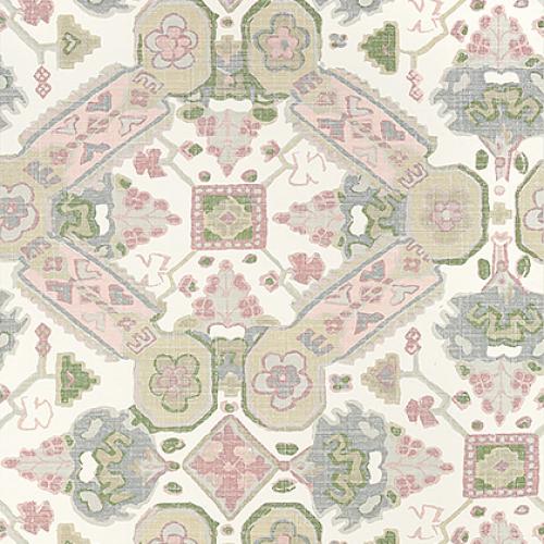 Papel pintado de estilo estampado varios en tonos de color verde Persian Carpet T10827
