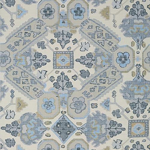 Papel pintado de estilo estampado varios en tonos de color azul Persian Carpet T10828