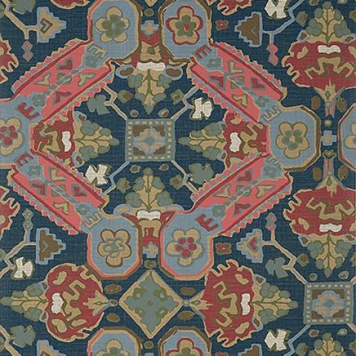 Papel pintado de estilo estampado varios en azul y rojo Persian Carpet T10829
