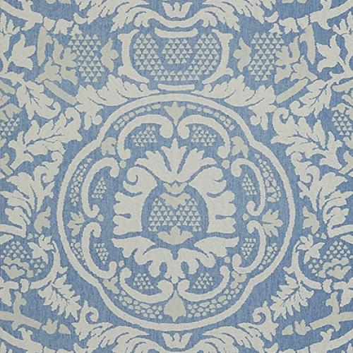 Papel pintado de estilo damasco en tonos de color azul Earl Damask T10837