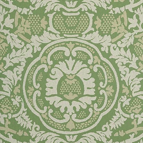 Papel pintado de estilo damasco en color verde Earl Damask T10838