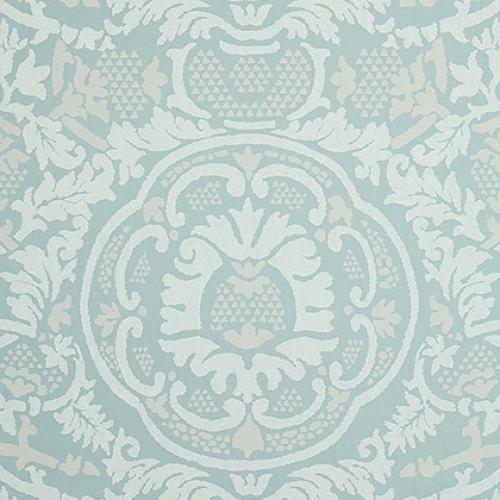 Papel pintado de estilo damasco en color azul Earl Damask T10839