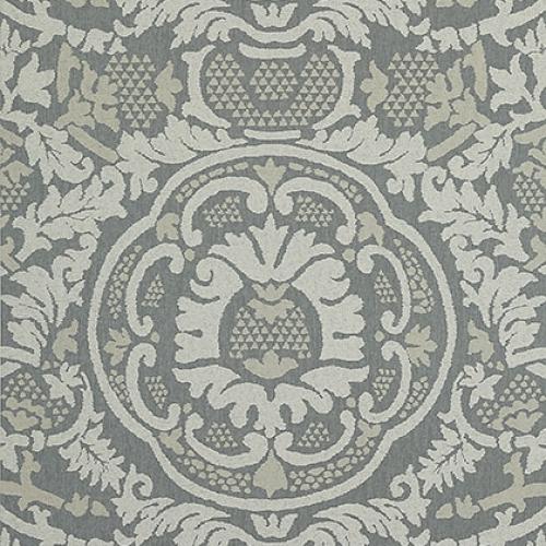 Papel pintado de estilo damasco en tonos de color gris Earl Damask T10840
