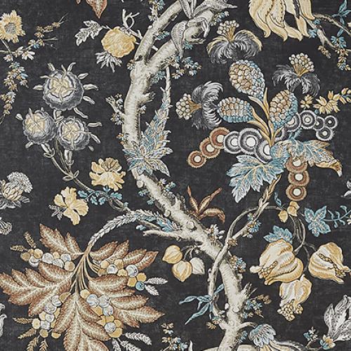 Papel pintado de estilo floral estampado en color negro Chatelain T10842