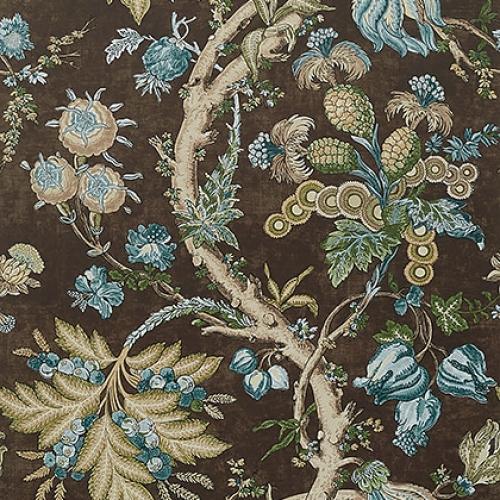 Papel pintado de estilo floral estampado en color marrón Chatelain T10843