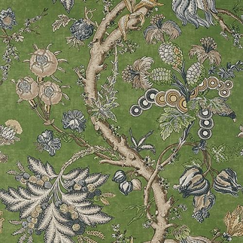 Papel pintado de estilo floral estampado en color verde Chatelain T10844