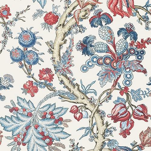 Papel pintado de estilo floral estampado en tonos de azul y rojo Chatelain T10845