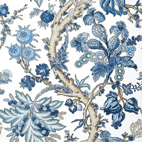 Papel pintado de estilo floral estampado en color azul Chatelain T10846