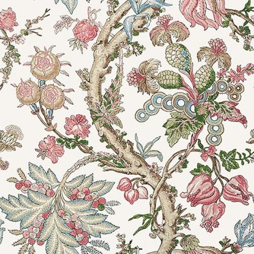 Papel pintado de estilo floral estampado en multicolor Chatelain T10848