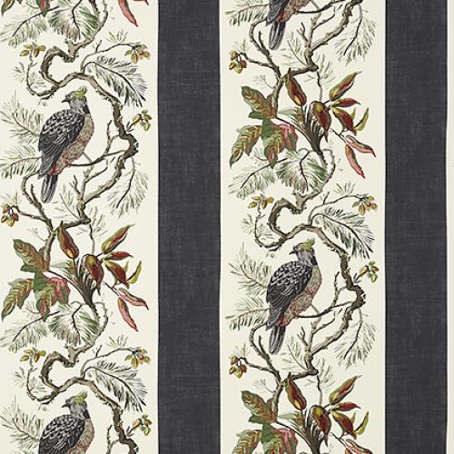 Papel pintado de estilo aves en color negro y verde Williamson T10858