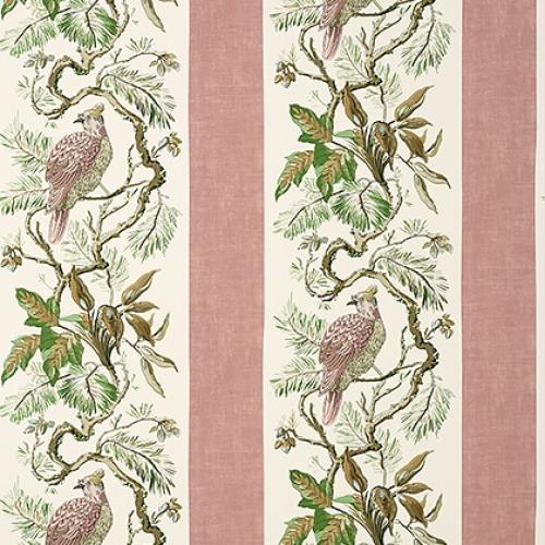 Papel pintado de estilo aves en color rosa pálido Williamson T10859