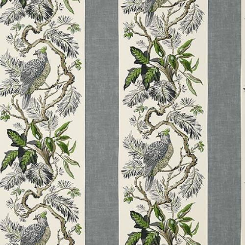 Papel pintado de estilo aves en color gris Williamson T10860