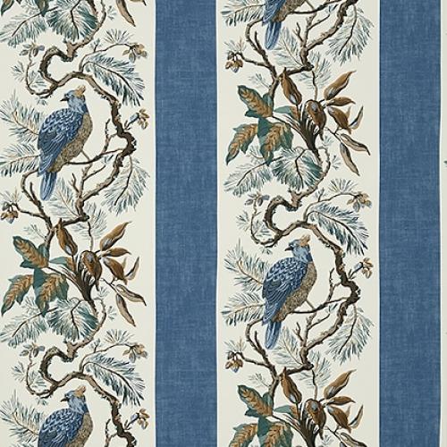 Papel pintado de estilo aves en color azul Williamson T10861