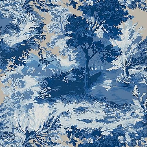 Papel pintado de estilo escenas en tonos de color azul Lincoln Toile T10864