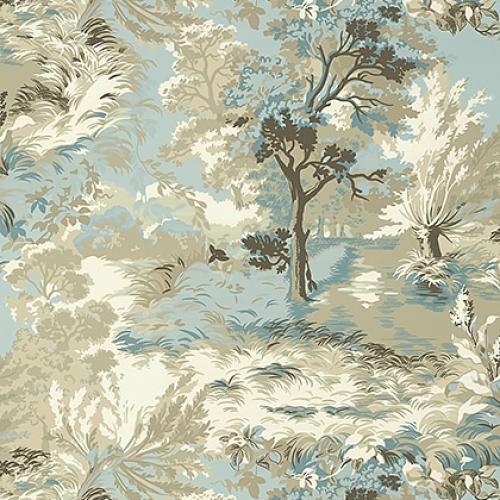 Papel pintado de estilo escenas en tonos de color beige Lincoln Toile T10865