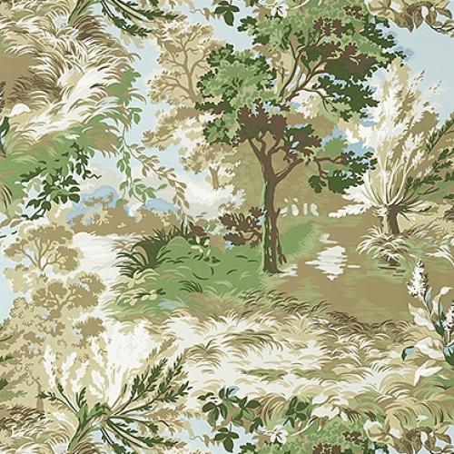 Papel pintado de estilo escenas en tonos de color verde Lincoln Toile T10866