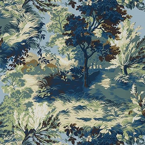 Papel pintado de estilo escenas en tonos de color azul y verde Lincoln Toile T10867
