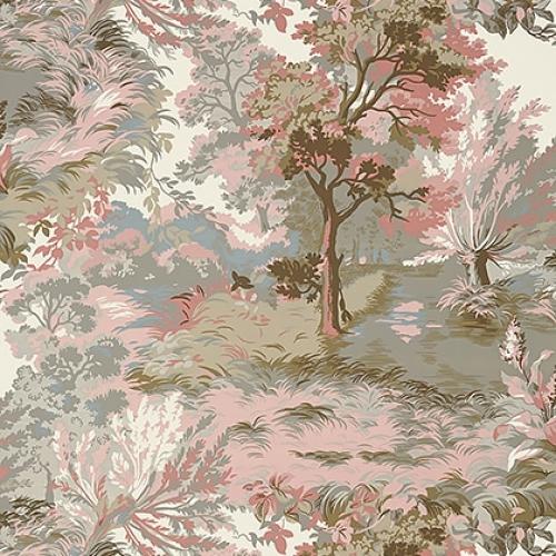 Papel pintado de estilo escenas en tonos de color rosa y marrón Lincoln Toile T10868