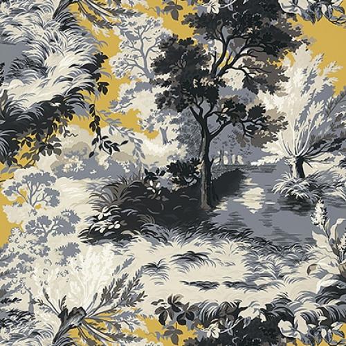 Papel pintado de estilo escenas en tonos de color azul y gris Lincoln Toile T10869
