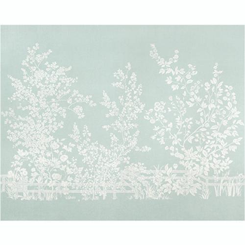 Mural de papel pintado de estilo floral estampado en color azul claro Villa Garden Mural TM10854