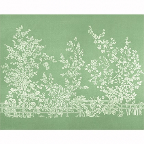 Mural de papel pintado de estilo floral estampado en color verde Villa Garden Mural TM10855