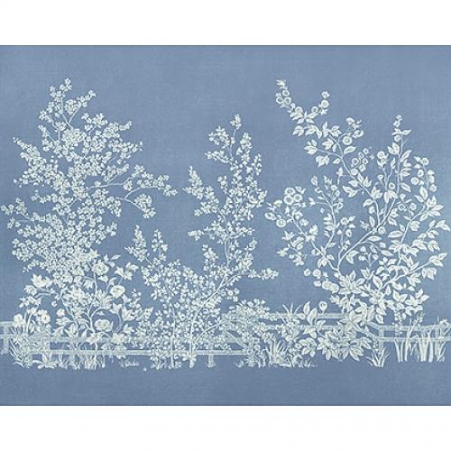 Mural de papel pintado de estilo floral estampado en color azul Villa Garden Mural TM10856