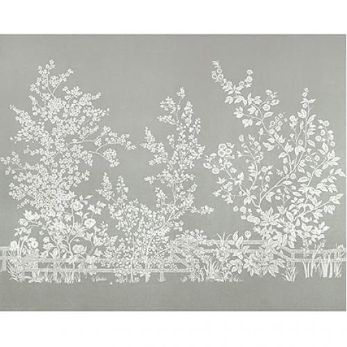 Mural de papel pintado de estilo floral estampado en color gris Villa Garden Mural TM10857