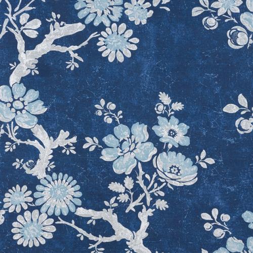 Tela de estilo floral estampado en color azul Claudette F910813