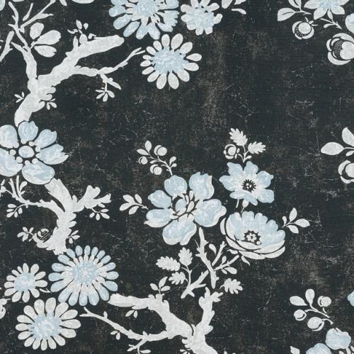 Tela de estilo floral estampado en color negro Claudette F910814